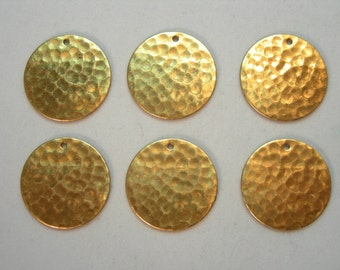 Hammered Raw Brass Discs Drops Dangles Earring Findings - 6