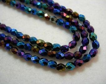 100 3mm Czech Fire Polish faceted glass beads - Blue Iris