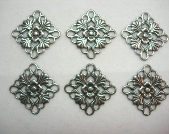 Antiqued Silver Plated Filigree Earring Drops Dangles Findings - 6
