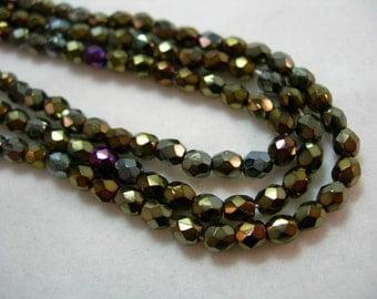 100 3mm Czech Fire Polish Glass Beads - Brown Iris