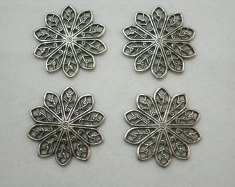 Oxidized Silver Plated Victorian Filigree Earring Drops Findings Stampings