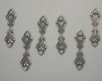 Fold over Bail, Antiqued Silver Drop Dangle Victorian Filigree - 6