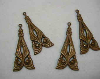 Vintage Patina Brass Art Deco Drops Earring Findings - 4