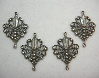Silver plated Victorian Filigree Earring Drops Findings Stampings