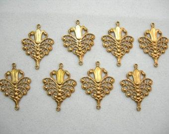 Raw Brass Earring Findings - Victorian / Art Deco Filigree - 8