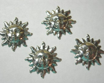 Silver Plated Sun Charms Drops Earring Findings - 4