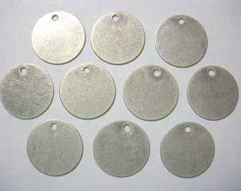 Antiqued Silver Plated  Discs Earring Findings Drops - 10 L 15mm