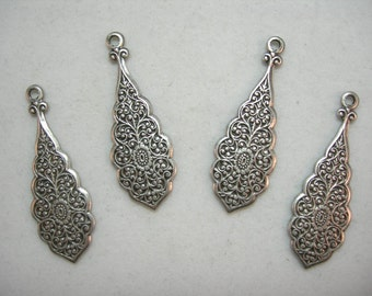 Floral Embossed Silver Plated Victorian Earring Drops Findings Stampings