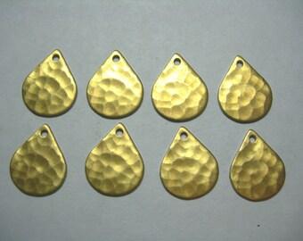 Hammered Raw Brass Teardrops Dangle Drops Earring Findings - 8
