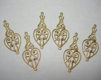 Raw Brass Drops Earring Findings - Victorian Filigree Hearts - 6