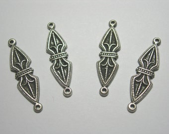 Silver Plated Victorian Earring Drops Findings Connectors Stampings 4