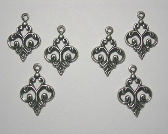 Silver Plated Dainty Fleur Drops Earring Findings - 6