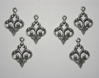 Silver Plated Dainty Fleur Drops Earring Findings - 6