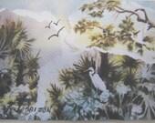 ACEO - Watercolor - Collage' - Swamp - Florida - Egret - Heron - Tranquil - landscape - wetlands