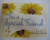 Sunflower, Special Friend, ACEO Watecolor  collage  pen and Ink, 198  yellow Sunflowers