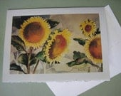 Sunflowers Note Card Watercolor print 5x7 Greeting Card yellow  sunshine  greeting card handmade
