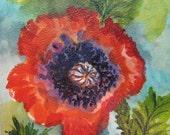 Poppy  original acrylic  painting  3 x 3 inch  Red  Flower  Square poppy art Handmade watercolorsnmore
