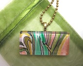 Bamboo, watercolor, Glass Tile Pendant, Necklace, Painting, OOAK, green, modern, abstract