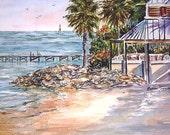 Little Harbor Resort ACEO Ruskin  Florida Art Beach print seascape 657  landscape ocean sea