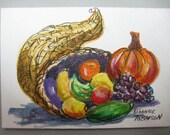 Cornucopia  ACEO original watercolor Fall Harvest Thanksgiving  Cornucopia III  Fruit 205 - watercolorsNmore
