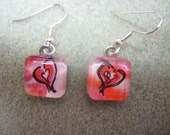 Red Heart, pink hearts Earrings,  Watercolor painting, Glass tile, Valentines day, OOAK, whimsy