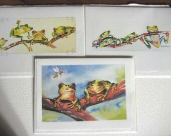 Tree Frogs, red eyed art 5 x 7 Note Cards set of 3, rain forest  whimsy greeting cards, green