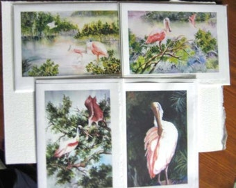 Spoonbills, assortments (4) 5x7 Note Cards, Florida, shorebirds, Blank, greeting cards, mangroves,