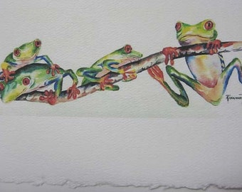 Red eye tree frog, Frogs, 5 x 7 blank, Note Card,Greeting Card, Whimsy, Green, Watercolor print - Fun