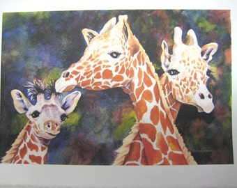 Giraffe, Giraffes family, Note Card, 5 x 7, Blank, Greeting Card, Print, Watercolor, zoo, animals, Africa