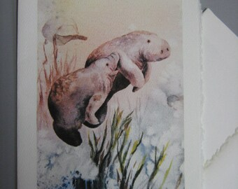 Manatees, 5 x 7 Note Card,  watercolor print, Greeting Card,  Mother's Love, Florida,,seacows, mammals, endangered