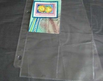 ACEO, 2 sheets collector pages, 2.5 in x 3.5 sleeves  9 pockets ATC  Artist Trading Card Acid Free & Archival pages