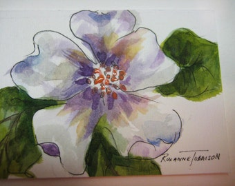White Flower, ACEO, Print of Watercolor painting, purple, 370, watercolorsNmore