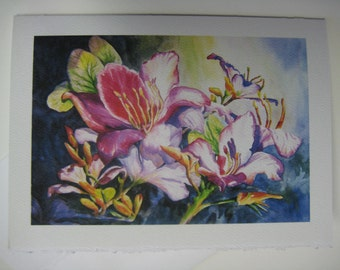 Radiant Orchid 5 x 7, Note Card, watercolor print, Florida magenta, purple, lavender, Tropical flower, Florida