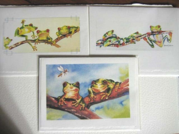 RESERVED - for CC - Note Cards - set of 3 -  5 x 7 - Blank - Tree Frogs - red eyed - rain forest - whimsy - greeting cards  - green