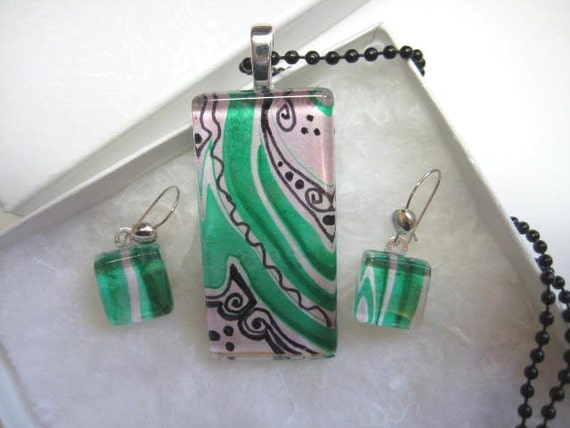 Emerald Green Abstract Pendant Earring Set, Glass Tile, OOAK, watercolor painting, swirls