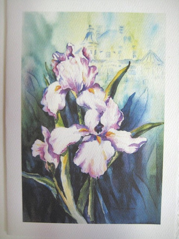 Iris Victorian  Note Card  5 x 7 blank Spring Lavender Purple greeting card  Violet Handmade