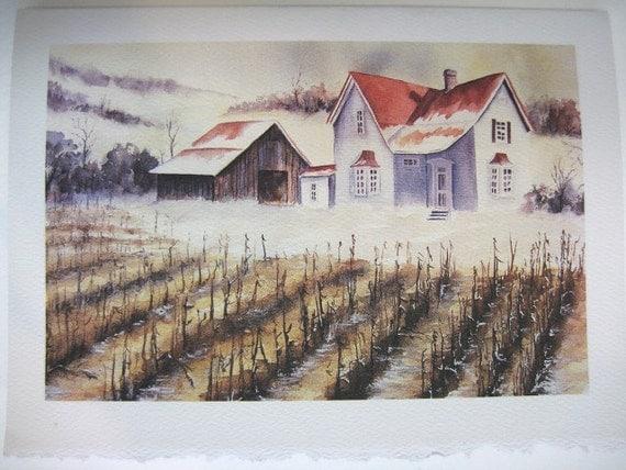First Snow Farmhouse Autumn 5x7 Note Card, Watercolor print country farm corn gold