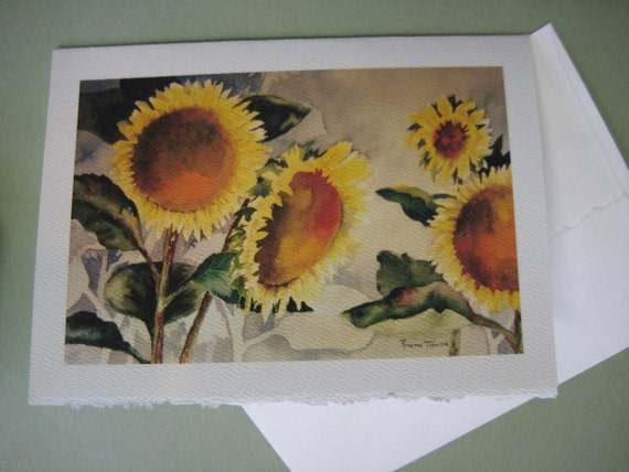 handmade note cards, watercolor, sunflowers