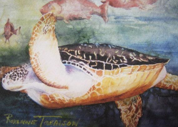 Sea Turtle art print ACEO Loggerhead  print, 781  Ocean, sealife, Sea, Florida