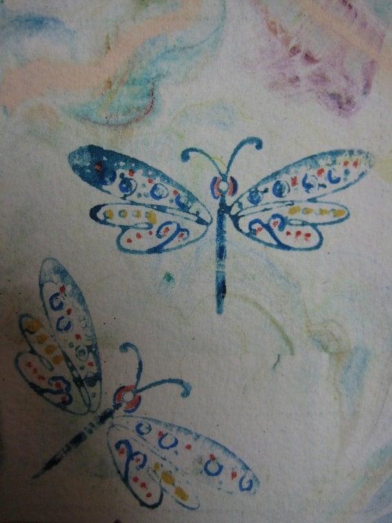 Dragonflies ACEO Dragonflies Flight 194 Watercolor stamp Original watercolor painting Blue
