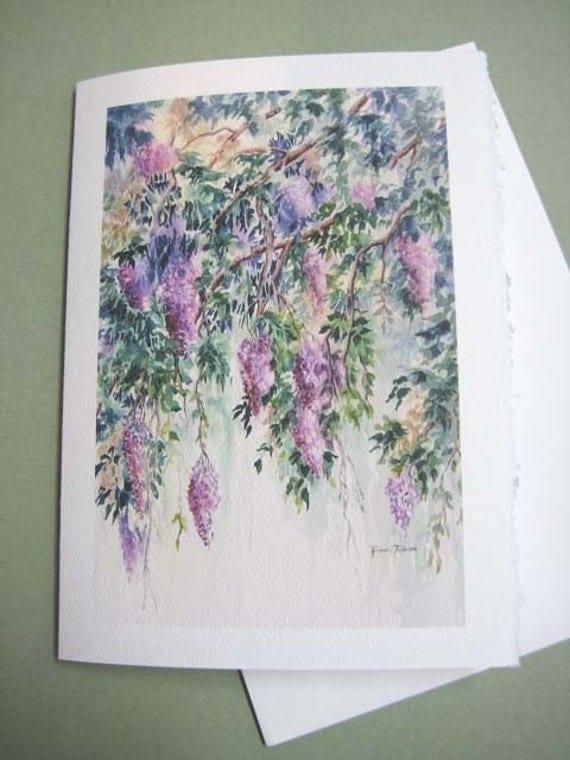 Wisteria watercolor 5 x 7  Note Card Trailing Vines  Flower Spring Vines purple lavender