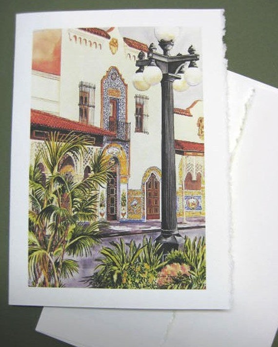 Columbia Restaurant, 5x7 Note Card, Blank Greeting Card, historical,Tampa, Ybor City, Spanish Architecture