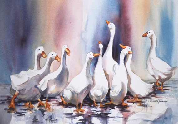 Geese art Duck Original Watercolor 16x22 Painting Rain OOAK  whimsy decorative wall art rainbow  purple  jewel tones