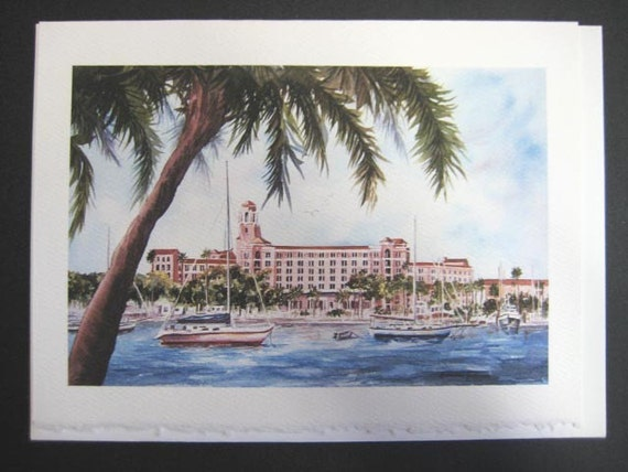 Historic, Vinoy Renaissance Resort,5x7 Note Card, watercolor print, St. Petersburg, Florida Tampa Bay,  5 x 7