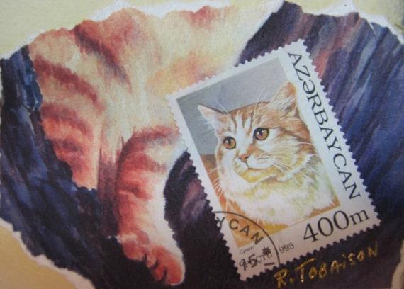 Cat ACEO collage'  International Stamp Series Cat art print  cat art 154  tabby  orange pet