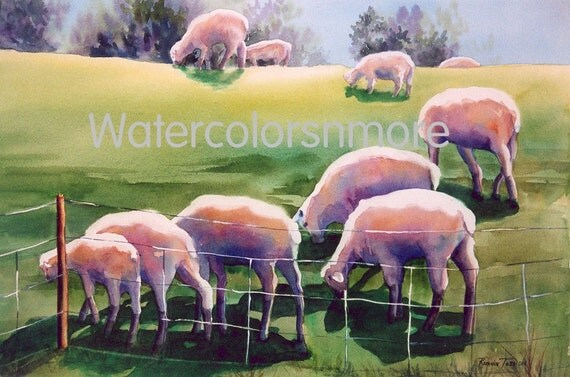 Sheep, Original Watercolor Painting, Over the Hill, Home Decor green OOAK, pastoral whimsy