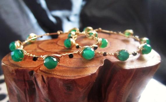 Reserved for Jo- Green Onyx and black swarovski crystal Mahnosh earrings- boho chic