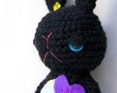 SALE. Bridget - the black amigurumi crochet bunny, tmt