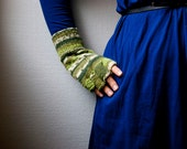 Hand knit fingerless gloves - stripes in white and green