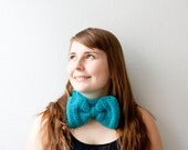 Headband and cowl, two in one, with a huge bow - turquoise, teal. Sale 25% off!